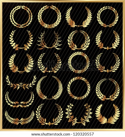 Set from gold laurel wreath on the black background - stock vector