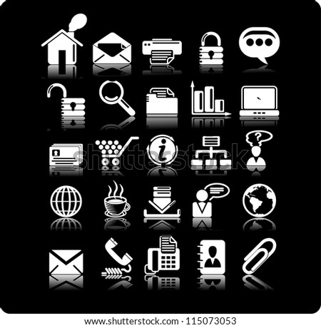Set from 25 (twenty five) business icons - stock vector