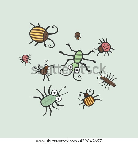 Set funny insects. Wasp, bee, bumblebee, butterfly, worm, caterpillar, beetle, ladybug, grasshopper, fly, mosquito, dragonfly, spider, snail, ant,  Colorado beetle. flat - stock vector