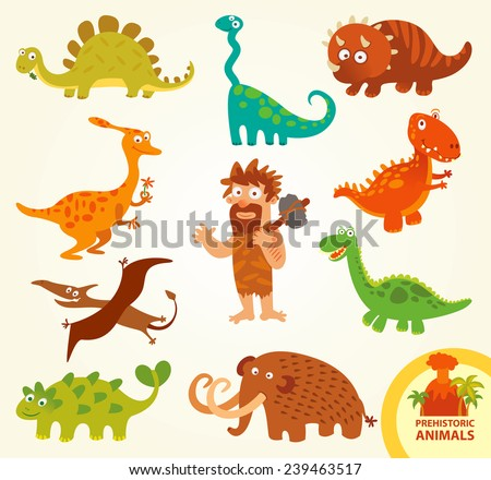 Set funny prehistoric animals. Caveman, allosaurus, triceratops, mammoth, brachiosaurus, stegosaurus, pterodactyloidea. Funny cartoon character. Vector illustration. Isolated on white background - stock vector