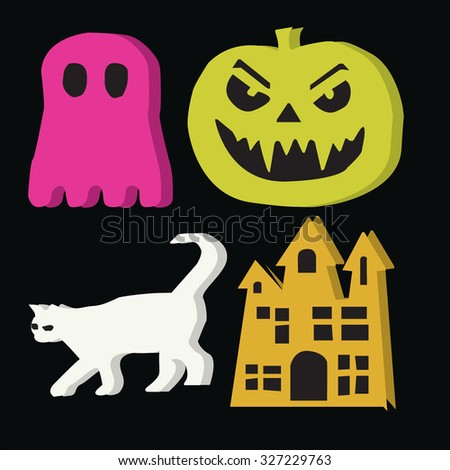 Set ghost on Halloween night - stock vector