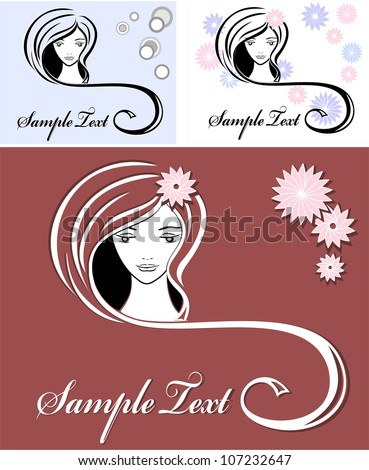 Set Girl advertising means of hair - stock vector