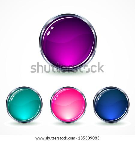 set glass buttons - stock vector