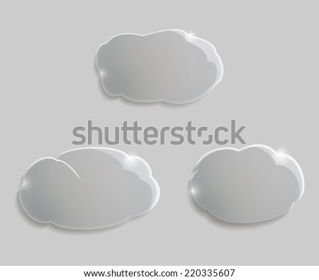 Set glass clouds with shadow on gray - stock vector