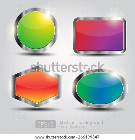 Set Glossy Download Button, icon, speech with shadow and reflections vector - stock vector