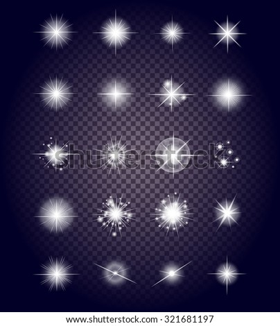 Set glows bright star light fireworks. Flash and glow, sparkle illuminated, flare effect, shine explosion, glitter and twinkle, spark magic, decoration starburst, shiny illustration - stock vector