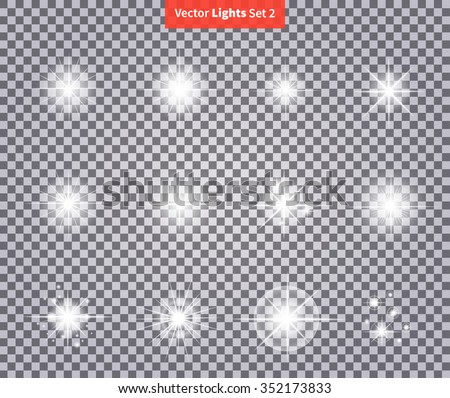 Set glows bright star light fireworks. Flash glow, sparkle illuminated, flare effect, shine explosion spark, starburst. Flare, star and burst. Isolated spark on transparency. Glow special effect light - stock vector