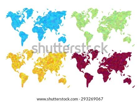 set gold blue red green world map the low poly polygon high precision - stock vector