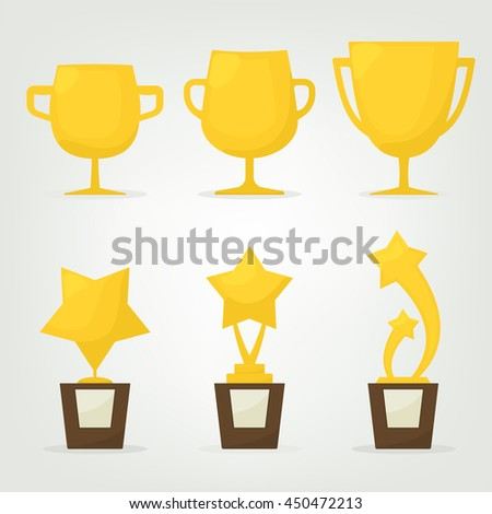 set gold stars and cups. trophy awards - stock vector