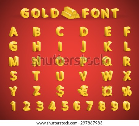 Set golden font (letters, numbers, symbols: currency, dollar, euro) - stock vector