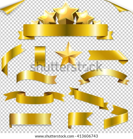 Set Golden Ribbons And Stars, With Gradient Mesh, Vector Illustration - stock vector
