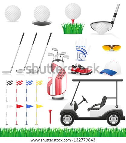 set golf icons vector illustration isolated on white background - stock vector