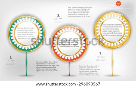 Set, group, collection of three, modern, round, colorful - green, red, yellow colors, design template, numbered labels, stickers for infographic, presentations, reports, documents, flyers - stock vector