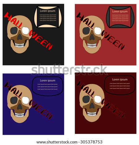 Set halloween hand lettering with skull.Typography Vector Background. Handmade calligraphy.  - stock vector