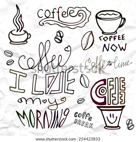 Set hand drawn coffee theme elements, lettering and coffee cup vector illustration - stock vector
