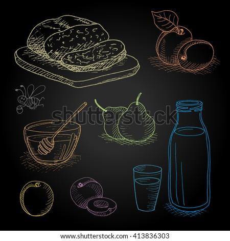 Set hand-drawn food ingredients on chalkboard. Hand drawn vector illustration. Set with elements: fruit, bread, milk, honey, funny bee, honey spoon, peach, apricot, pear, bottle, glass - stock vector