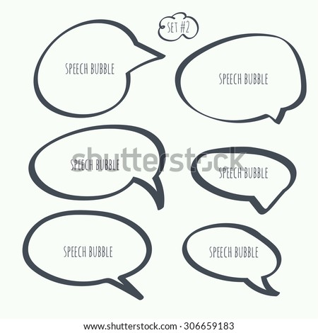 Set hand drawn speech bubble. Vector. Elements for text - stock vector
