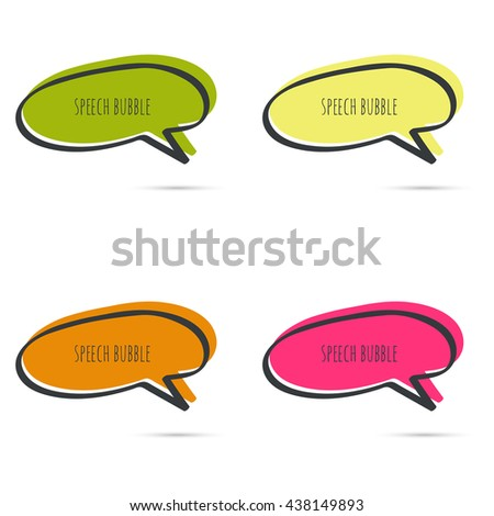 Set hand drawn speech bubble. Vector frame. Text box. Multicolor, red, orange, green, yellow - stock vector