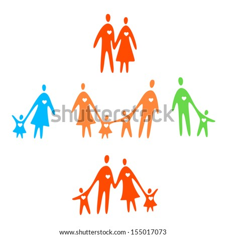 Set happy and loving family concept. Vector template - loving parents and children together and their heards. - stock vector