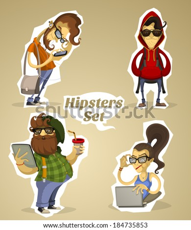 Set hipsters nerds with gadgets and without - stock vector