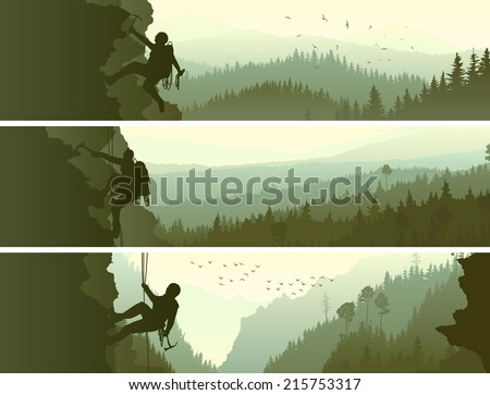 Set horizontal abstract banners of alpinists (climbers) with ice ax in mountains coniferous wood. - stock vector