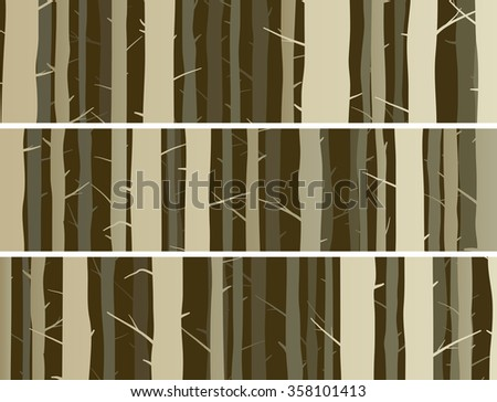 Set horizontal banners misty forest with trunks of trees. - stock vector