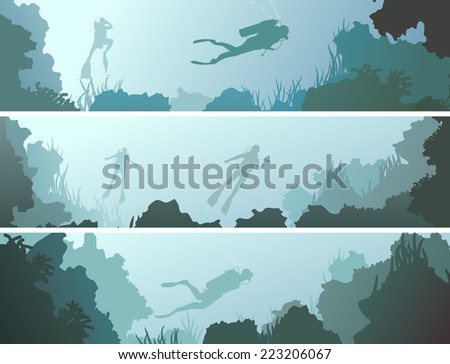 Set horizontal banners of scuba divers under water among coral in cave. - stock vector