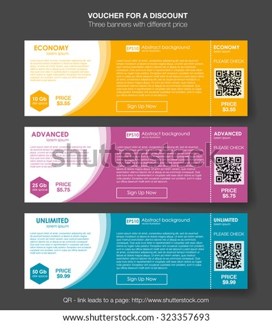 Set horizontal tariffs banners. interface for the site. ui ux vector banner for web app. Voucher pricing table, banner, order, box, button, list and bullet with plan for website in flat design - stock vector