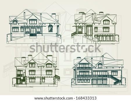 Set House facade. Vector illustration - stock vector