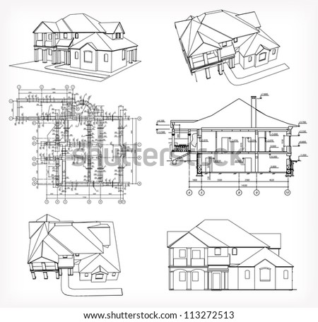 Set houses and blueprint. Vector - stock vector