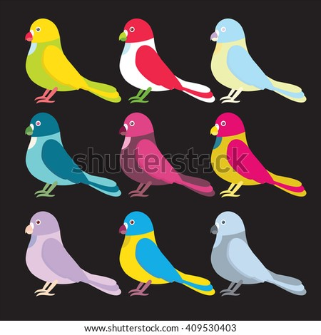 Set (huge collection) of flat vector illustration. Simple minimalistic parrots birds in festive, bright color. Cartoon element for  design. Green, yellow, blue, red, pink, grey, lilac, violet, beige - stock vector