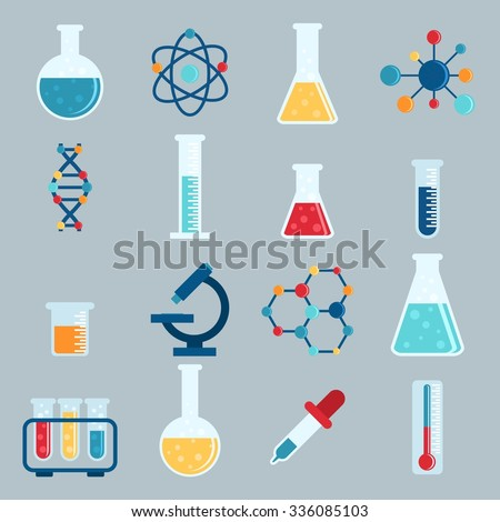 Set icon chemicals, chemistry, laboratory, jars, beakers, flasks, elements of the molecule. Vector illustration - stock vector