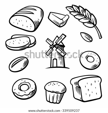 Set icon for bakery. Bread, mill, donut, cake, slice of cake, corn, ear, bun, grain, wheat. Black and white color. Vintage vector engraving illustration for logotype, label, poster, web. - stock vector