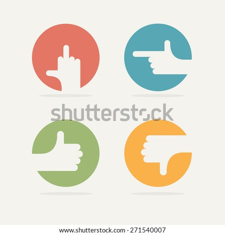 Set Icon hand gestures: thumb up, good, bad, left. Vector illustration. - stock vector
