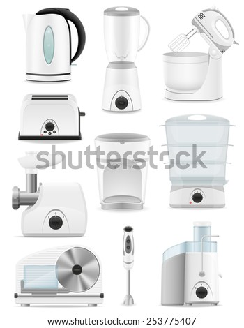 set icons electrical appliances for the kitchen vector illustration isolated on white background - stock vector