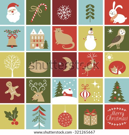 Set Icons for create Advent Calendar, Christmas Illustrations and Characters, Cute fox, owl, cat, Santa, gingerbread man, rabbit , reindeer  - stock vector