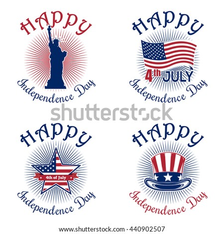 Set icons for Independence Day. 4th of July. Happy Independence Day of America. Statue of Liberty, US flag, star shaped American flag, Uncle Sam's hat. Vector icon isolated on white background - stock vector