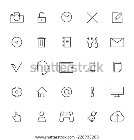 Set icons for web and user interface - stock vector