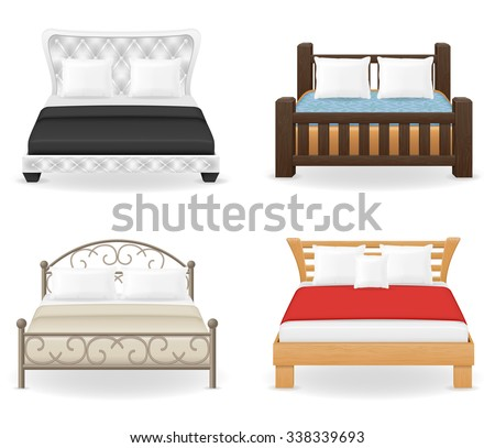 set icons furniture double bed vector illustration isolated on white background - stock vector