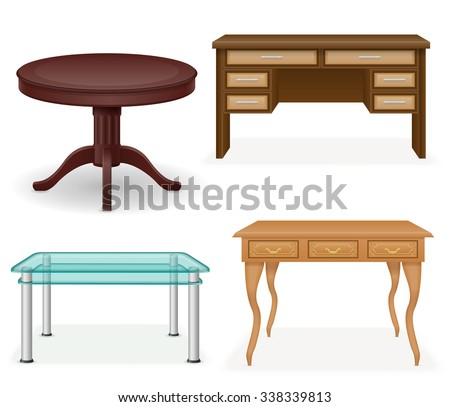 set icons furniture table vector illustration isolated on white background - stock vector