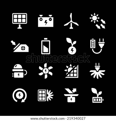 Set icons of alternative energy sources isolated on black. Vector illustration - stock vector