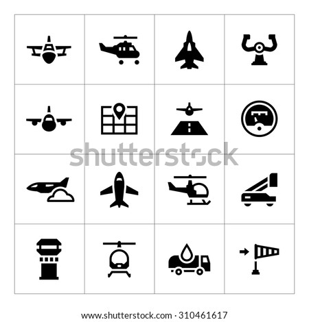 Set icons of aviation isolated on white. Vector illustration - stock vector