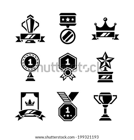 Set icons of awards and trophy isolated on white. Vector illustration - stock vector