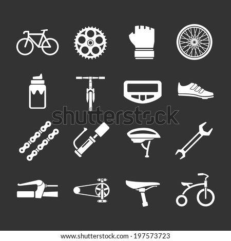 Set icons of bicycle, biking, bike parts and equipment isolated on black - stock vector