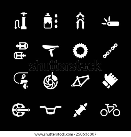 Set icons of bicycle parts and accessories isolated on black. Vector illustration - stock vector