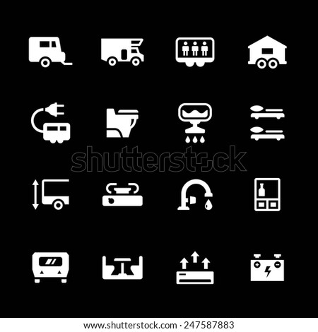 Set icons of camper, caravan, trailer isolated on black. Vector illustration - stock vector