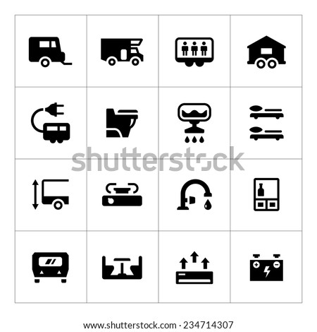 Set icons of camper, caravan, trailer isolated on white. Vector illustration - stock vector