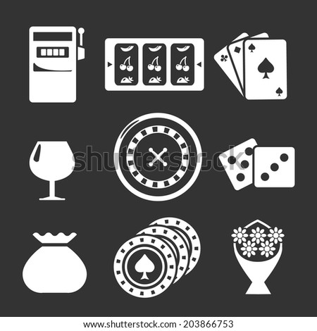 Set icons of casino isolated on black. Vector illustration - stock vector