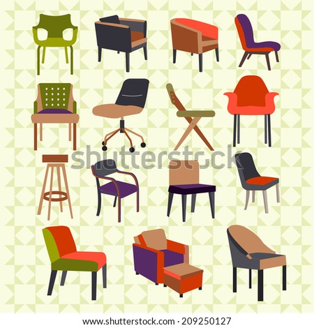 Set icons of chairs interior furniture icon  - stock vector