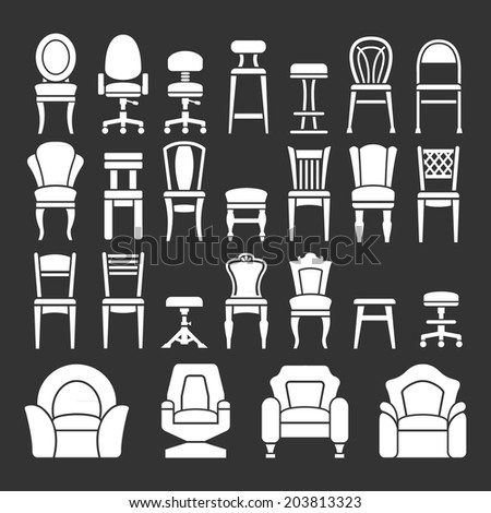 Set icons of chairs isolated on black. Vector illustration - stock vector